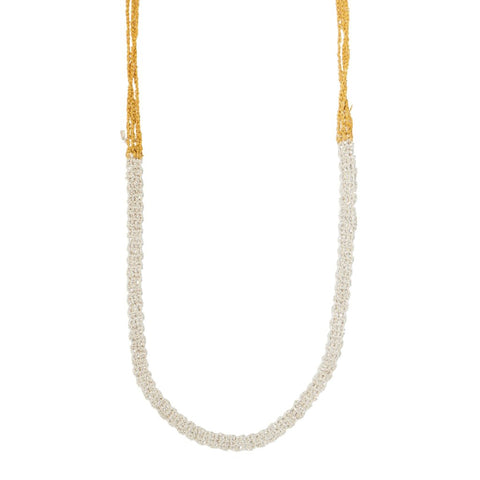 Arielle de Pinto Slim Necklace Sterling Silver and Gold 40""