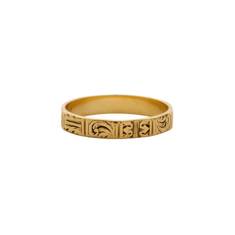 Antique 18k Gold Engraved Paneled Band