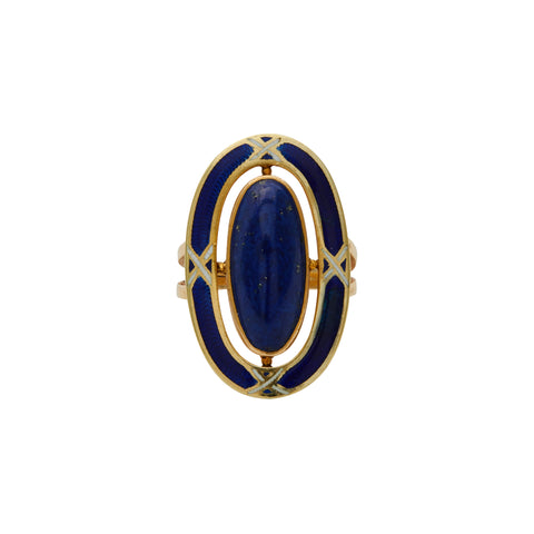Antique Arts & Crafts 10k Gold Lapis and Blue Enamel Ring