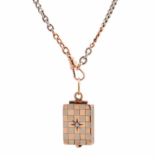 Antique Victorian Platinum & Rose Gold Checkerboard & Diamond Locket