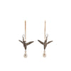 Gabriella Kiss Silver Flying Humming Birds with Pearl Earrings
