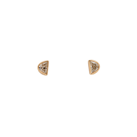 B.C.E. Jewelry 14k Half Moon Diamond Stud Earrings