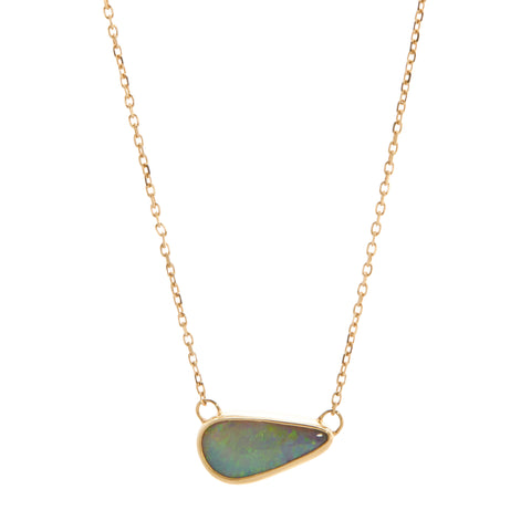 B.C.E. Jewelry 14k Small Australian Opal Necklace