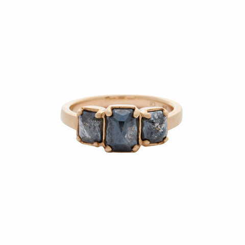Rebecca Overmann 14k Three Rose Cut Black Diamond Ring