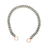 Marla Aaron Sterling Silver Heavy Curb Bracelet with 14k Rose Loops 6""