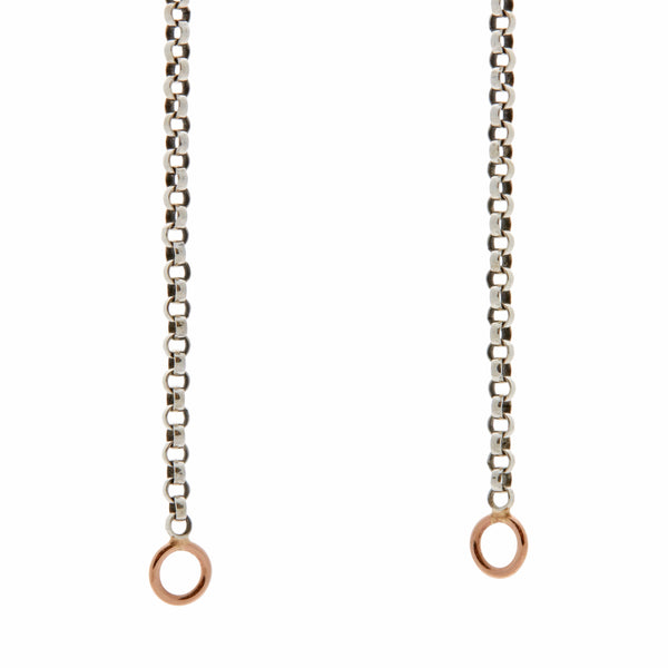 Marla Aaron Silver Rolo Chain with Yellow Gold Loops 18""
