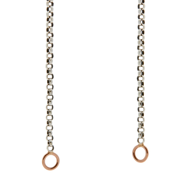 Marla Aaron Silver Rolo Chain with Rose Gold Loops 16""