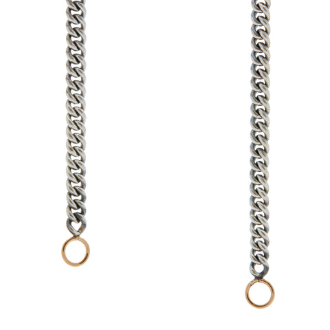 "Marla Aaron 22"" Heavy Sterling Silver Curb Chain With Yellow Gold Loops"