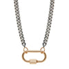 Marla Aaron Heavy Silver Curb Chain with Rose Gold Loops - 16""
