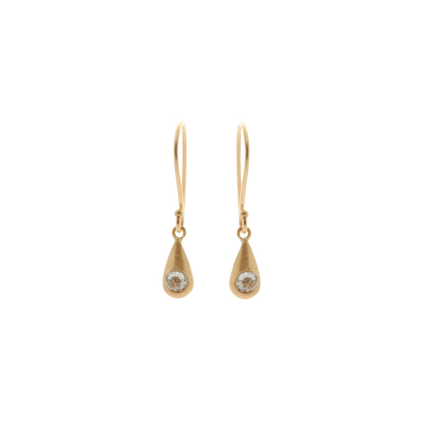 Rebecca Overmann 14k Rose Cut Diamond Tear Drop Earrings