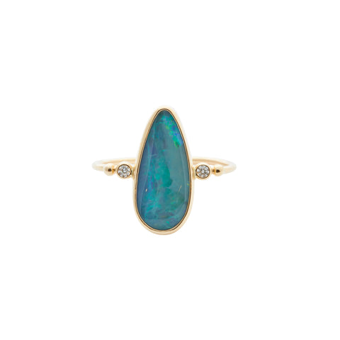 B.C.E. 14k Opal Teardrop & Diamond Ring