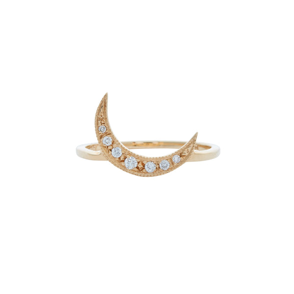 Gillian Conroy 14k White Diamond Crescent Moon Ring
