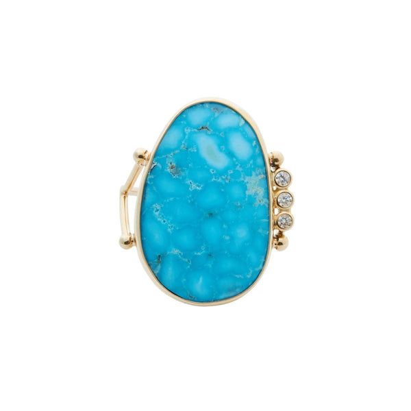 B.C.E. 14k Kingman Turquoise & Three Diamond Ring