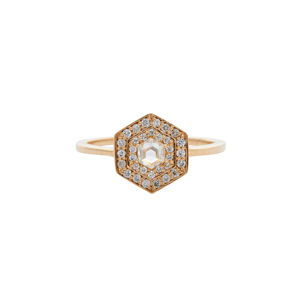 Gillian Conroy 14k Art Deco Inspired Diamond Hexagon Ring