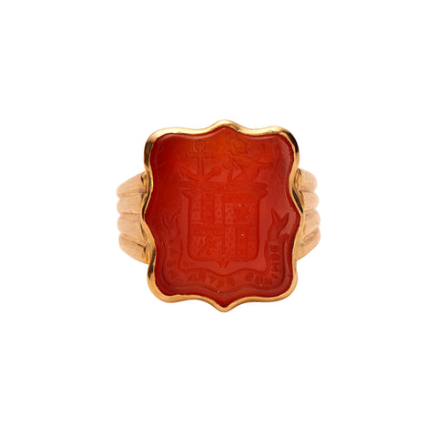 Antique Victorian 18k Carnelian Seal Ring