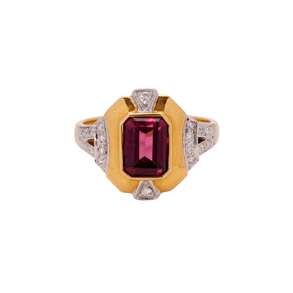 Antique Mid Century 18k Rhodolite Garnet & Diamond Ring