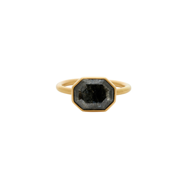Gabriella Kiss 18k Octagonal Charcoal Grey Diamond Ring