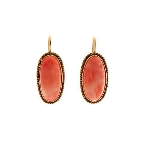 Antique Edwardian 12k Coral Cabochon Earrings
