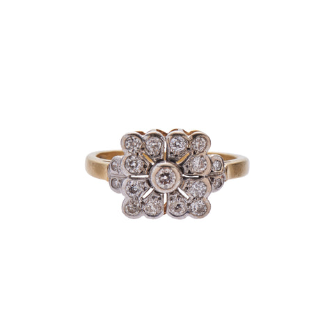 Antique Deco 18k Square Diamond Ring