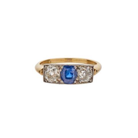 Antique Deco 18k Diamond & Sapphire Ring