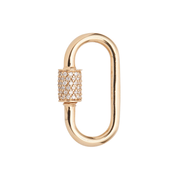 Marla Aaron 14k Medium Stoned Lock with Diamonds