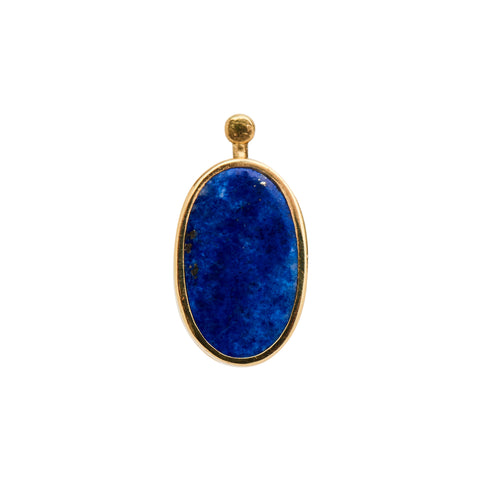 Marla Aaron 18k Single Oval Lapis & Malachite Earring Drop
