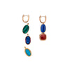 Marla Aaron 18k Single Cushion Cut Garnet & Carnelian Earring Drop