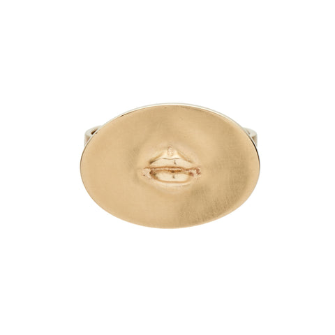 "Gabriella Kiss 10k Lips Love Token Ring Inscribed with ""Sapientiae"""
