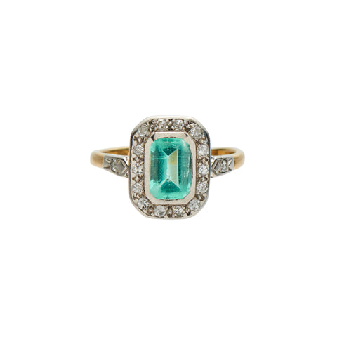 Antique Art Deco 18k, Platinum, Emerald & Diamond Ring