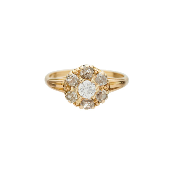 Antique Late Victorian 18k Diamond Cluster Ring
