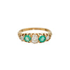 Antique Late Victorian Diamond & Emerald Half Hoop Ring