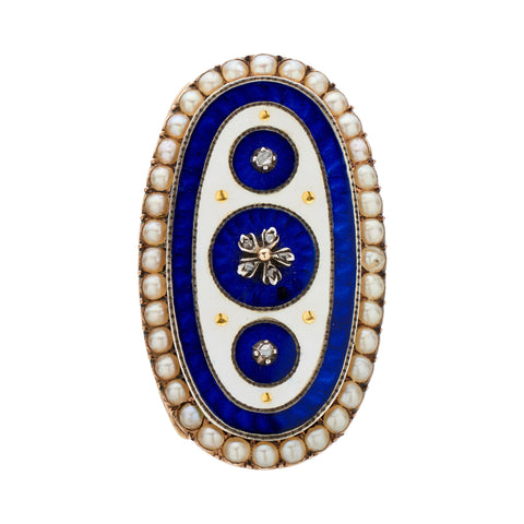 Antique Georgian 15k Guilloché Enamel and Pearl Oval Ring