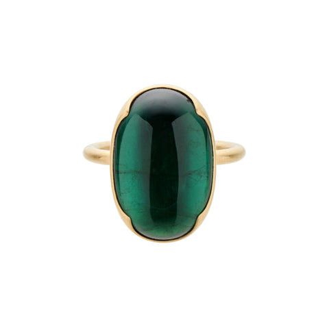 Gabriella Kiss 18k Large Oval Green Tourmaline Ring