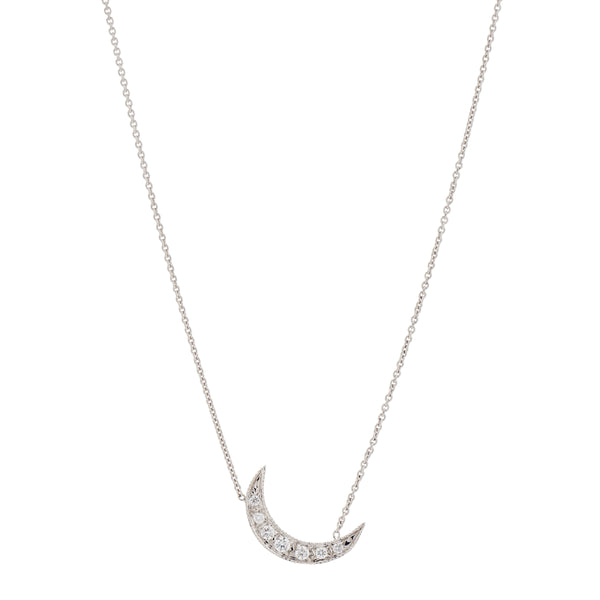Gillian Conroy 14k White Gold & Diamond Small Crescent Moon Necklace