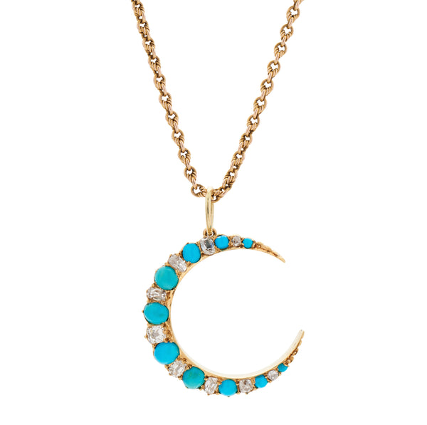 Antique Victorian 14k Diamond & Turquoise Crescent Pendant