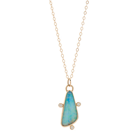 B.C.E. Jewelry 14k Opal & Diamond Necklace