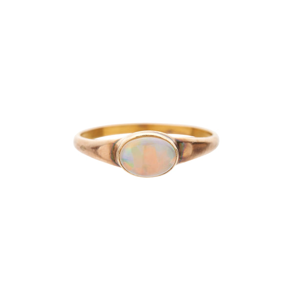 Antique Art Deco 10k Bezel Set Small Opal Ring