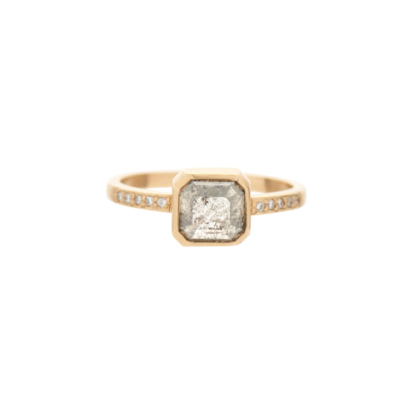 Rebecca Overmann 14k Square Grey Diamond with Pavé Band Ring