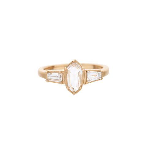 Rebecca Overmann 14k Three Diamond Jet Ring