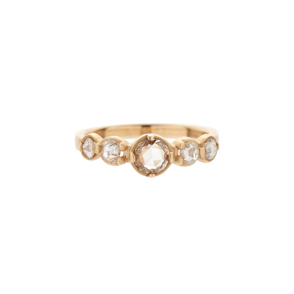 Rebecca Overmann 14k Round Champagne Rose Cut Diamond Stepping Stone Ring