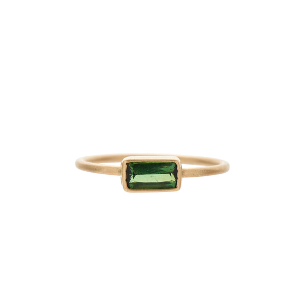 Rebecca Overmann 14k Medium Bezel Set Rectangular Tourmaline Ring