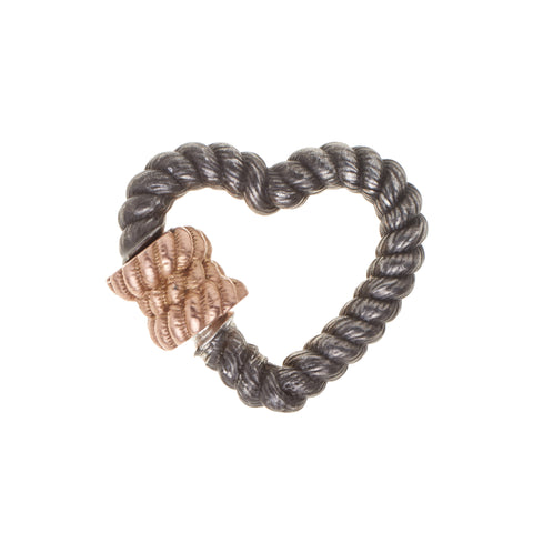 Marla Aaron Silver & Rose Gold Twisted Heart Lock
