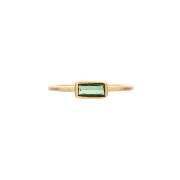 Rebecca Overmann 14k Small Bezel Set Rectangular Tourmaline Ring