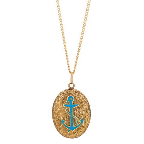 Antique Victorian 12-14k Engraved Pendant with Blue Enamel Anchor Locket