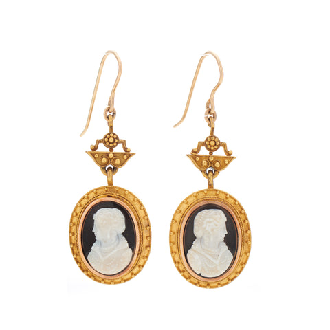 Antique Etruscan Revival 15k Granulated Onyx Cameo Earrings