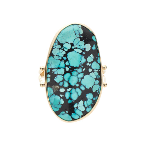 B.C.E. Jewelry 14k Large Blue/Black Hubei Turquoise Ring