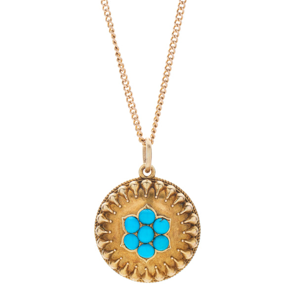 Antique Etruscan Revival 15-18k Turquoise Locket Pendant