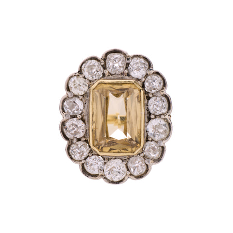 Antique 1920's 18k, Platinum, Natural Golden Zircon &  Diamond Ring