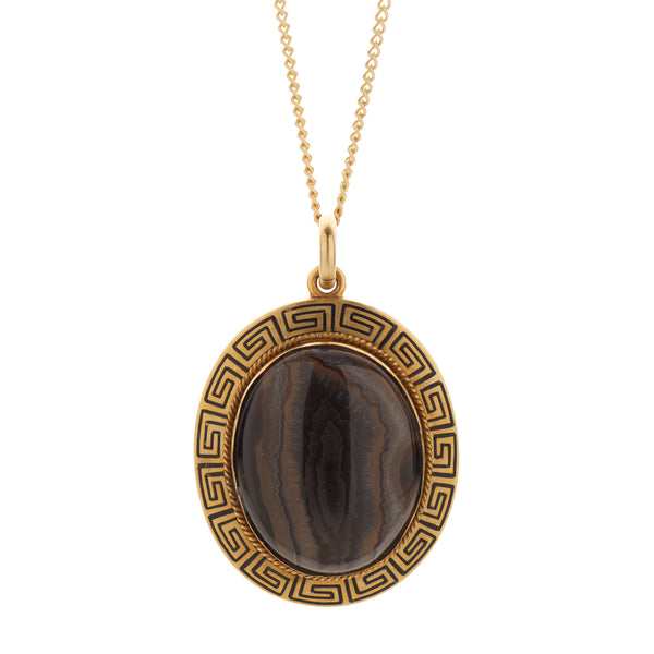 Antique Victorian 18k Striped Agate Set in Black Enamel Greek Key Frame Pendant