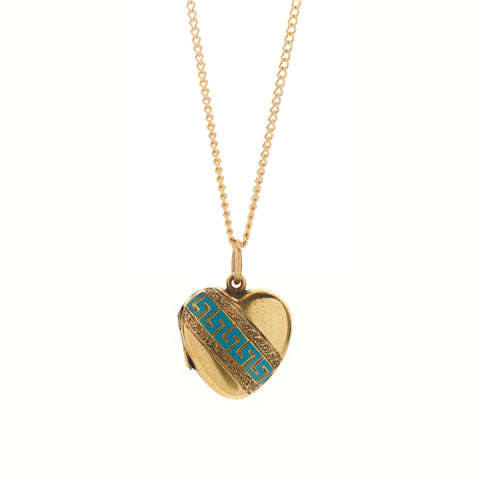 Antique Victorian 18k & Turquoise Enamel Heart Locket Pendant